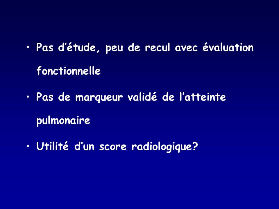 Pas détude, peu de recul avec évaluation fonctionnelle Pas de marqueur validé de latteinte pulmonaire Utilité dun score radiologique?