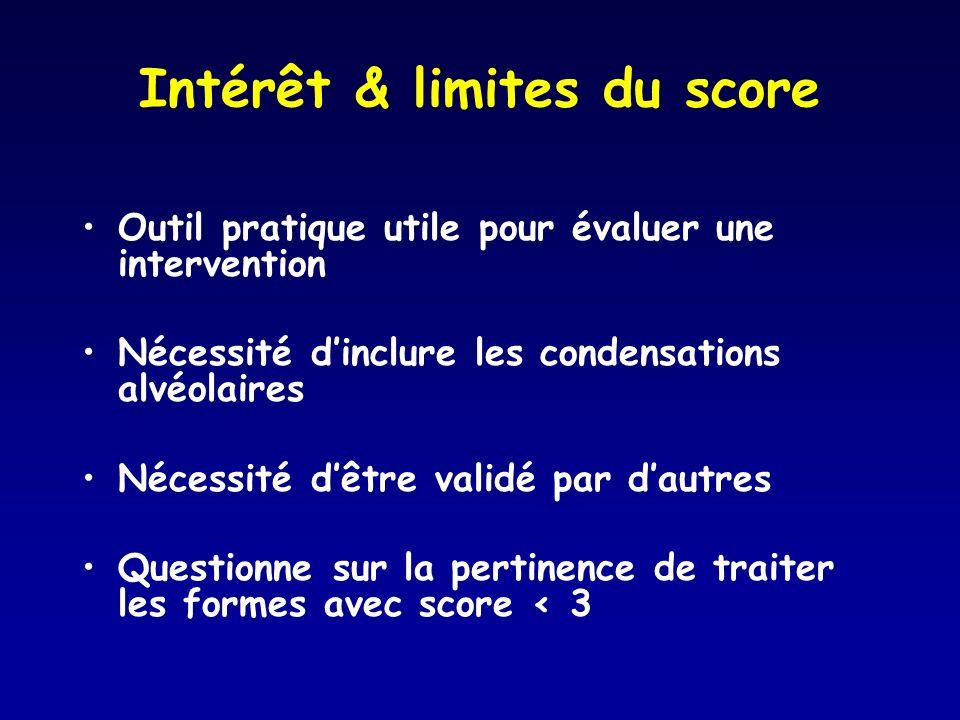 Intérêt & limites du score Outil pratique utile pour évaluer une intervention Nécessité dinclure les condensations alvéolaires Nécessité dêtre validé