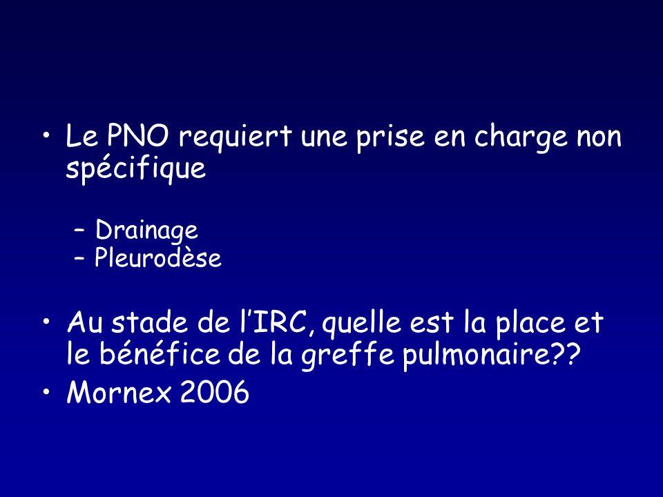 Le PNO requiert une prise en charge non spécifique –Drainage –Pleurodèse Au stade de lIRC, quelle est la place et le bénéfice de la greffe pulmonaire?