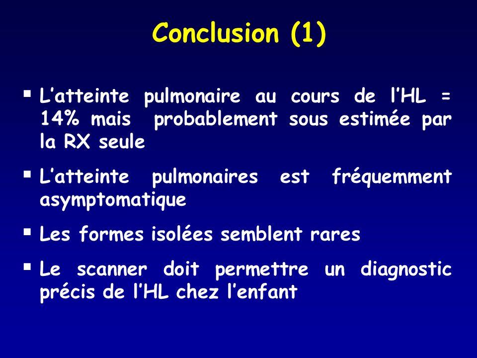 Conclusion (1) Latteinte pulmonaire au cours de lHL = 14% mais probablement sous estimée par la RX seule Latteinte pulmonaires est fréquemment asympto