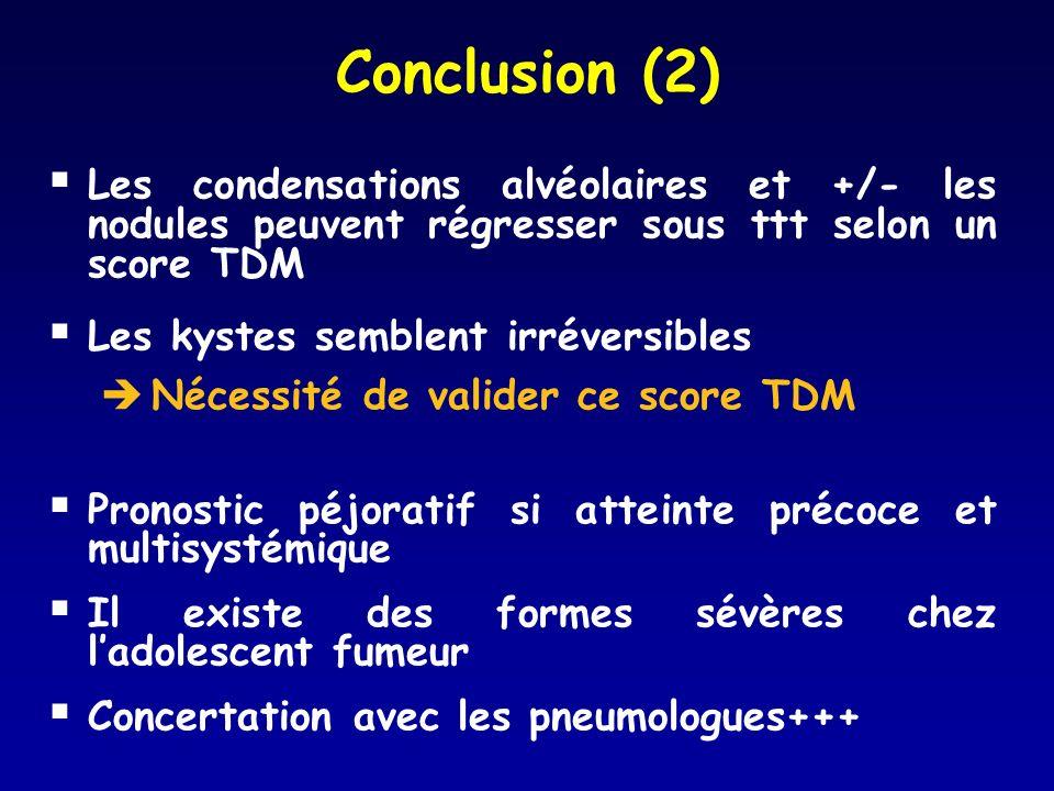 Conclusion (2) Les condensations alvéolaires et +/- les nodules peuvent régresser sous ttt selon un score TDM Les kystes semblent irréversibles Nécess