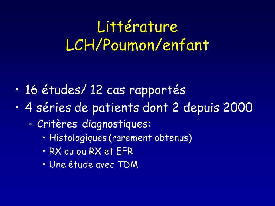 Littérature LCH/Poumon/enfant 16 études/ 12 cas rapportés 4 séries de patients dont 2 depuis 2000 –Critères diagnostiques: Histologiques (rarement obt