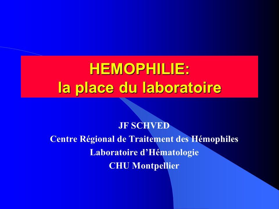 HEMOPHILIE: la place du laboratoire JF SCHVED Centre Régional de Traitement des Hémophiles Laboratoire dHématologie CHU Montpellier