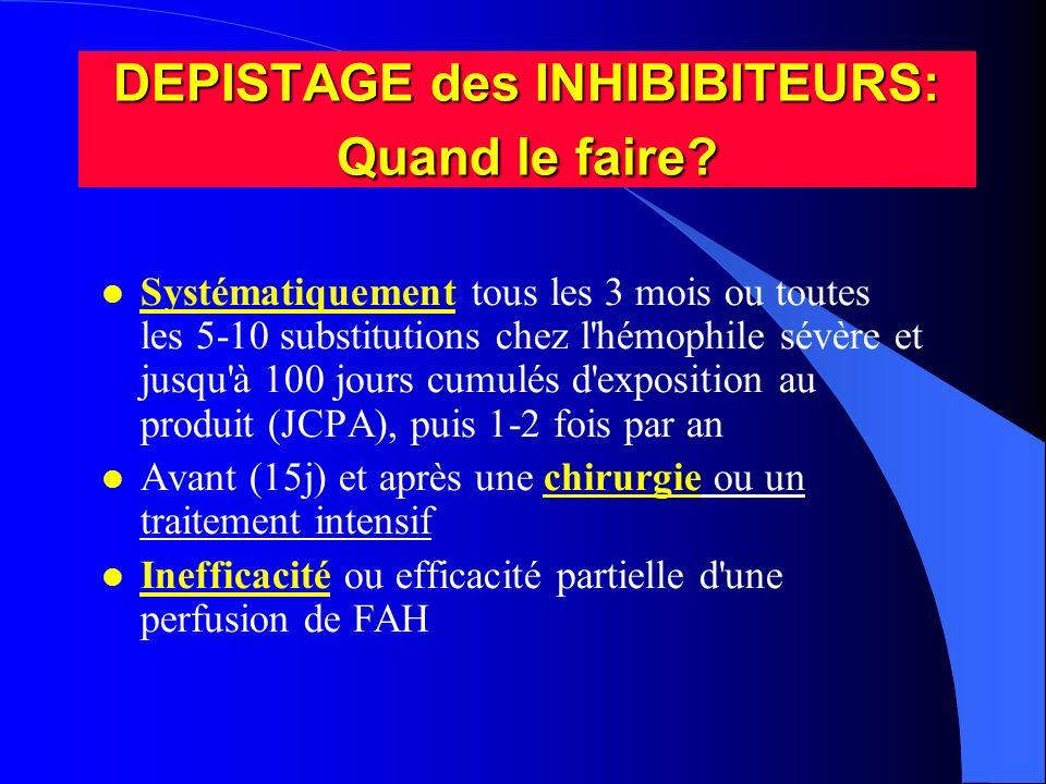 DEPISTAGE des INHIBIBITEURS: Quand le faire? l Systématiquement tous les 3 mois ou toutes les 5-10 substitutions chez l'hémophile sévère et jusqu'à 10