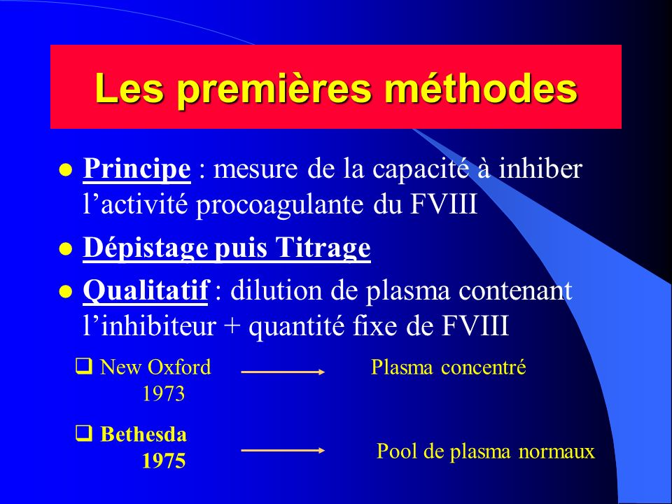 Les premières méthodes l Principe : mesure de la capacité à inhiber lactivité procoagulante du FVIII l Dépistage puis Titrage l Qualitatif : dilution