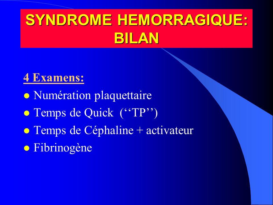 SYNDROME HEMORRAGIQUE: BILAN 4 Examens: l Numération plaquettaire l Temps de Quick (TP) l Temps de Céphaline + activateur l Fibrinogène