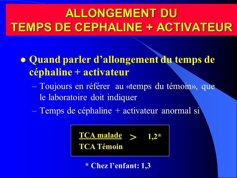 ALLONGEMENT DU TEMPS DE CEPHALINE + ACTIVATEUR l Quand parler dallongement du temps de céphaline + activateur –Toujours en référer au «temps du témoin
