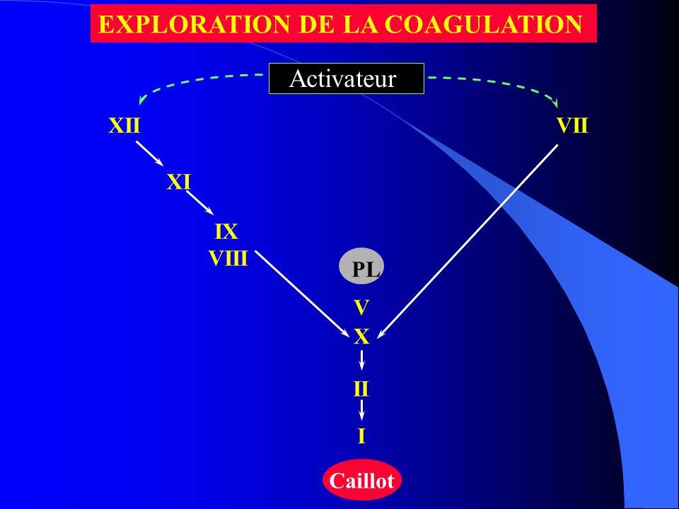 XII XI IX VIII VII X II I Caillot PL V Activateur EXPLORATION DE LA COAGULATION