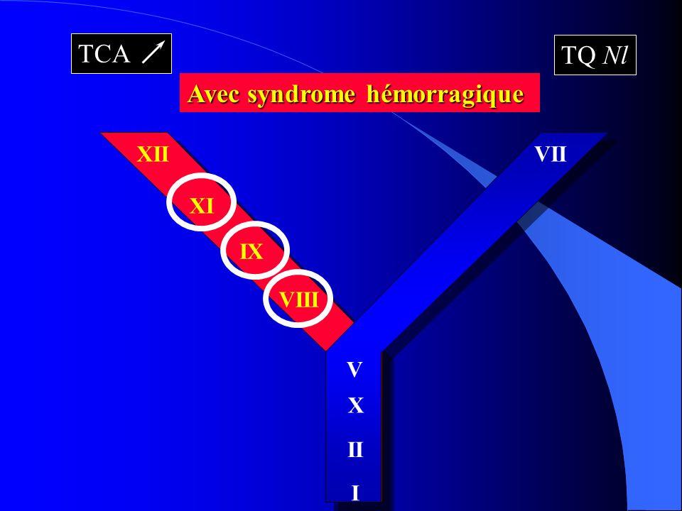 XII XI IX VIII VII X II I V TCA TQ Nl Avec syndrome hémorragique