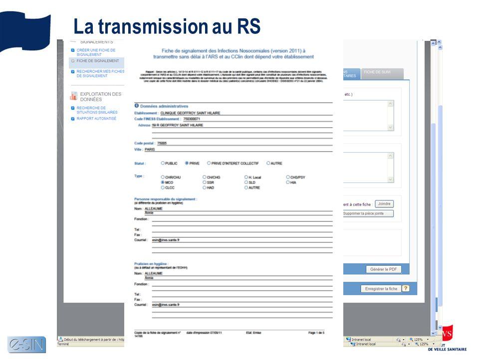 La transmission au RS Les différents boutons daction Lorsque la saisie est terminée, le PH transmet cette dernière au RS Le système demande confirmati