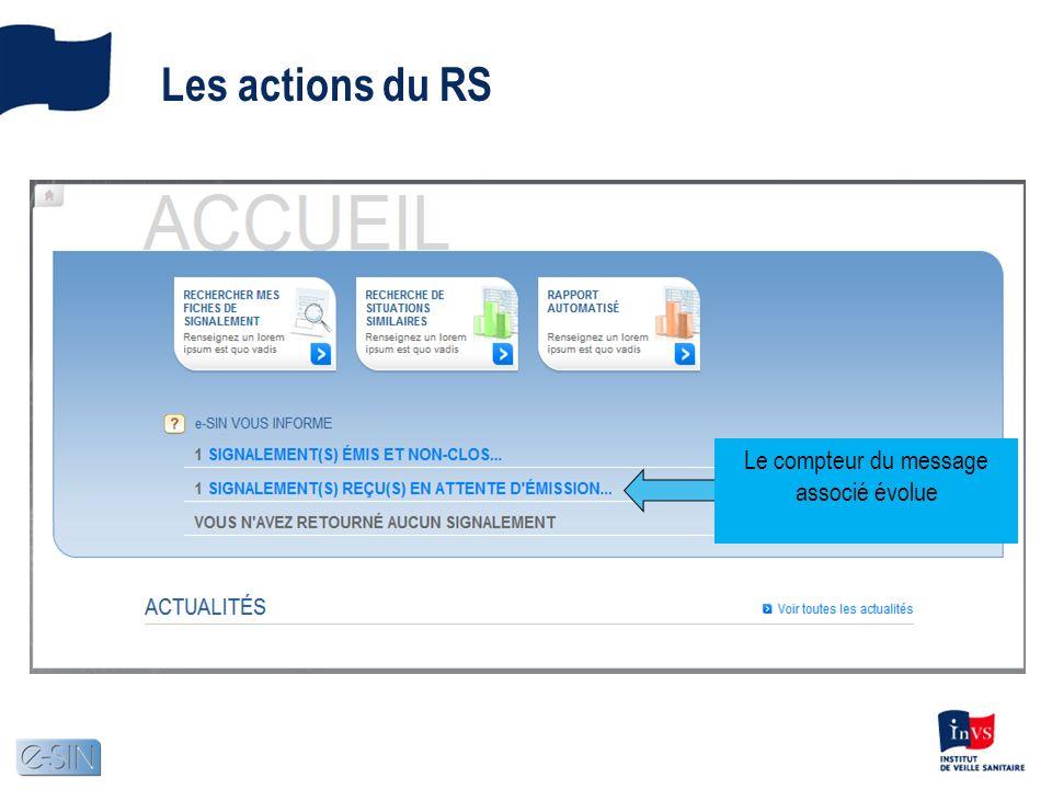 Les actions du RS Le compteur du message associé évolue