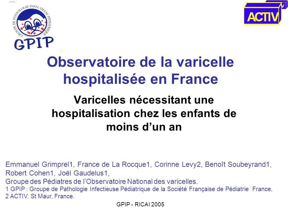 Observatoire de la varicelle hospitalisée en France Varicelles nécessitant une hospitalisation chez les enfants de moins dun an Emmanuel Grimprel1, Fr