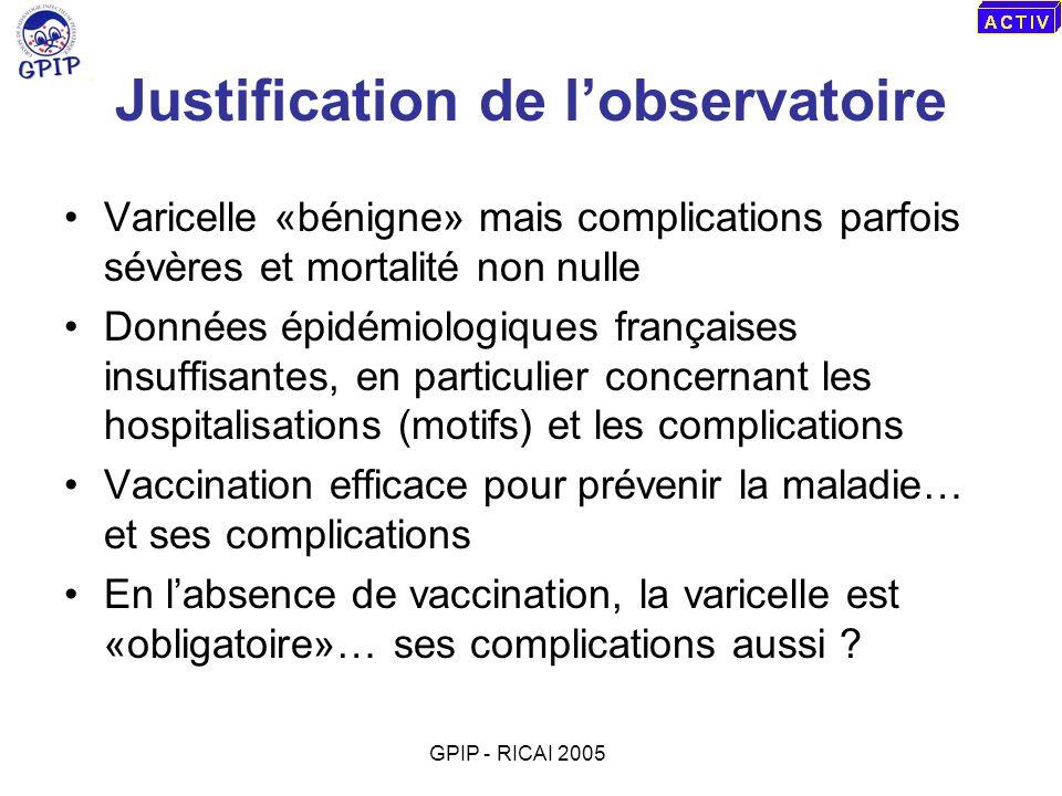 Observatoire de la varicelle hospitalisée en France Promoteur : GPIP Support financier : Sanofi Pasteur MSD Support technique et logistique ACTIV Réseau de surveillance prospective, active mais non exhaustive (30%) GPIP - RICAI 2005