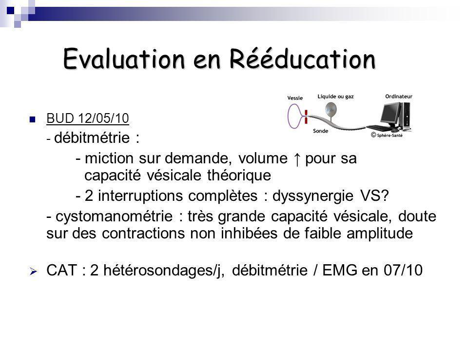 Evaluation en Rééducation BUD 12/05/10 - débitmétrie : - miction sur demande, volume pour sa capacité vésicale théorique - 2 interruptions complètes :