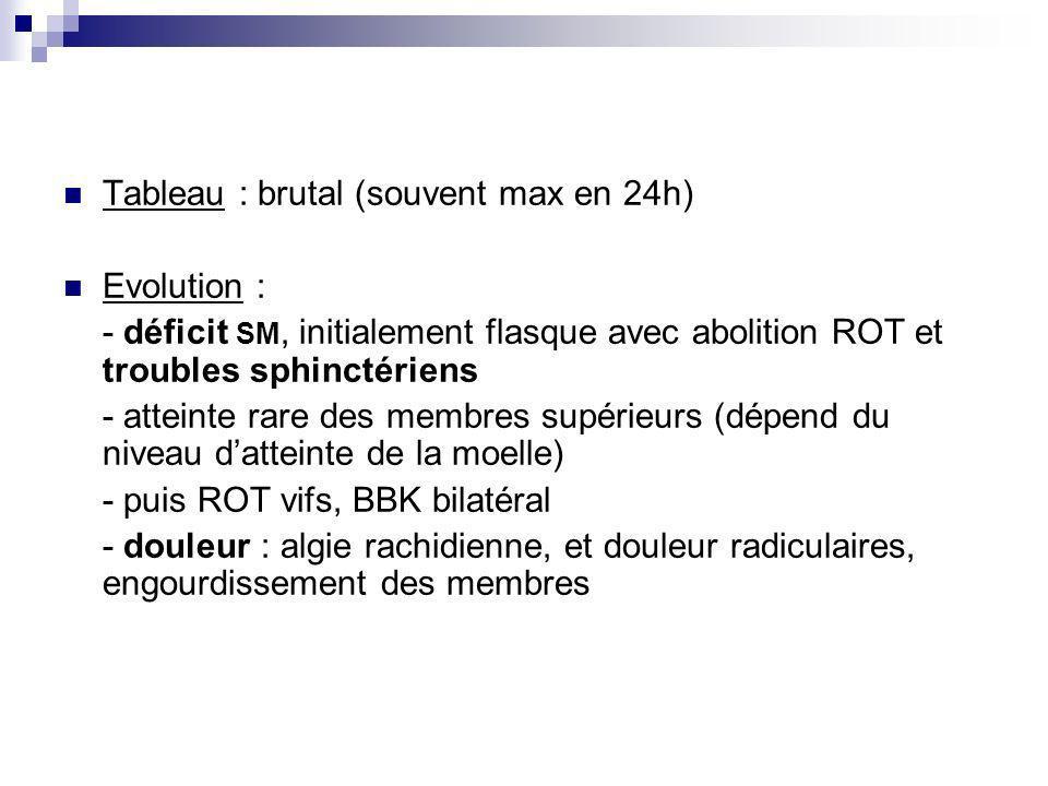 Tableau : brutal (souvent max en 24h) Evolution : - déficit SM, initialement flasque avec abolition ROT et troubles sphinctériens - atteinte rare des