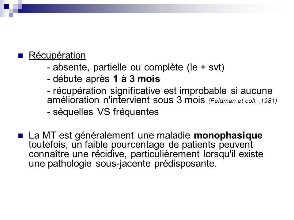Récupération - absente, partielle ou complète (le + svt) - débute après 1 à 3 mois - récupération significative est improbable si aucune amélioration
