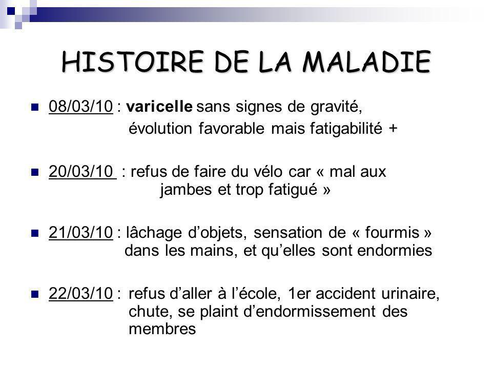 HISTOIRE DE LA MALADIE 08/03/10 : varicelle sans signes de gravité, évolution favorable mais fatigabilité + 20/03/10 : refus de faire du vélo car « ma