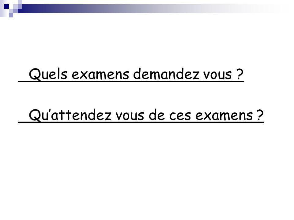 Quels examens demandez vous ? Quattendez vous de ces examens ?