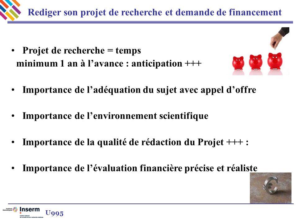 Rediger son projet de recherche et demande de financement U995 Projet de recherche = temps minimum 1 an à lavance : anticipation +++ Importance de ladéquation du sujet avec appel doffre Importance de lenvironnement scientifique Importance de la qualité de rédaction du Projet +++ : Importance de lévaluation financière précise et réaliste