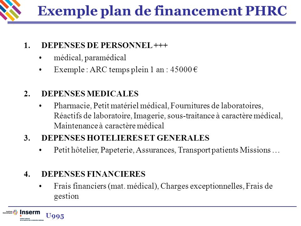 Exemple plan de financement PHRC U995 1.DEPENSES DE PERSONNEL +++ médical, paramédical Exemple : ARC temps plein 1 an : 45000 2.DEPENSES MEDICALES Pha