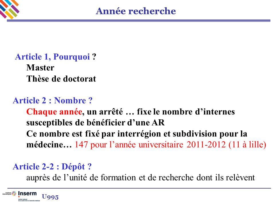 Année recherche Article 1, Pourquoi ? Master Thèse de doctorat Article 2 : Nombre ? Chaque année, un arrêté … fixe le nombre dinternes susceptibles de