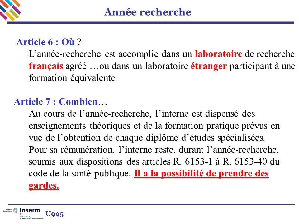 Année recherche Article 6 : Où ? Lannée-recherche est accomplie dans un laboratoire de recherche français agréé …ou dans un laboratoire étranger parti