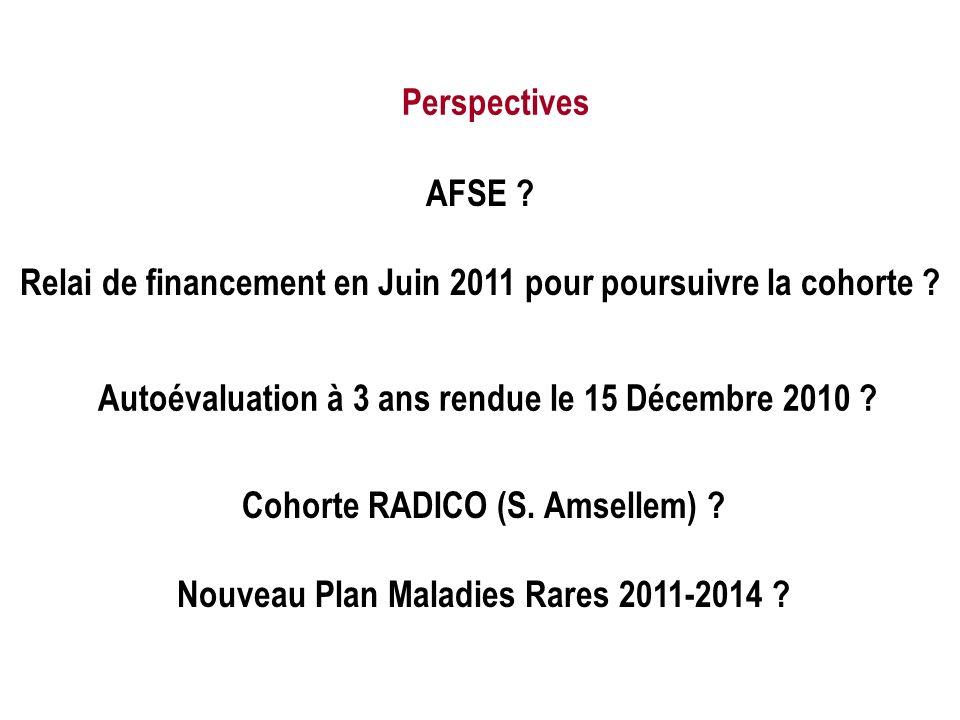 Autoévaluation à 3 ans rendue le 15 Décembre 2010 ? Cohorte RADICO (S. Amsellem) ? Nouveau Plan Maladies Rares 2011-2014 ? AFSE ? Relai de financement
