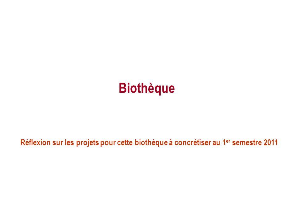Biothèque Réflexion sur les projets pour cette biothèque à concrétiser au 1 er semestre 2011