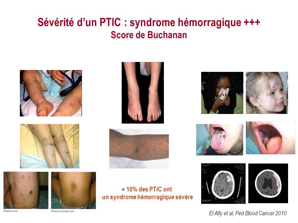Sévérité dun PTIC : syndrome hémorragique +++ Score de Buchanan < 10% des PTIC ont un syndrome hémorragique sévère El Alfy et al, Ped Blood Cancer 2010