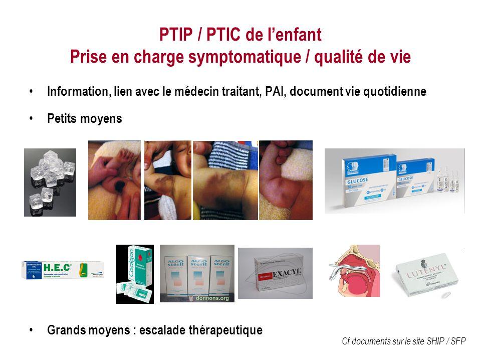 PTIP / PTIC de lenfant Prise en charge symptomatique / qualité de vie Information, lien avec le médecin traitant, PAI, document vie quotidienne Petits