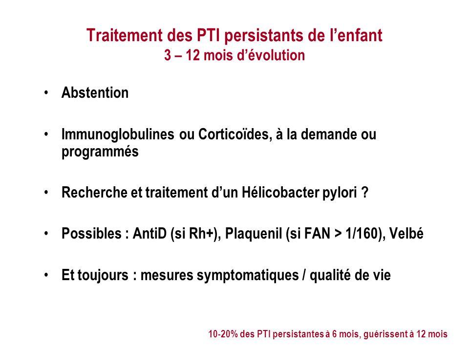 Traitement des PTI persistants de lenfant 3 – 12 mois dévolution Abstention Immunoglobulines ou Corticoïdes, à la demande ou programmés Recherche et traitement dun Hélicobacter pylori .