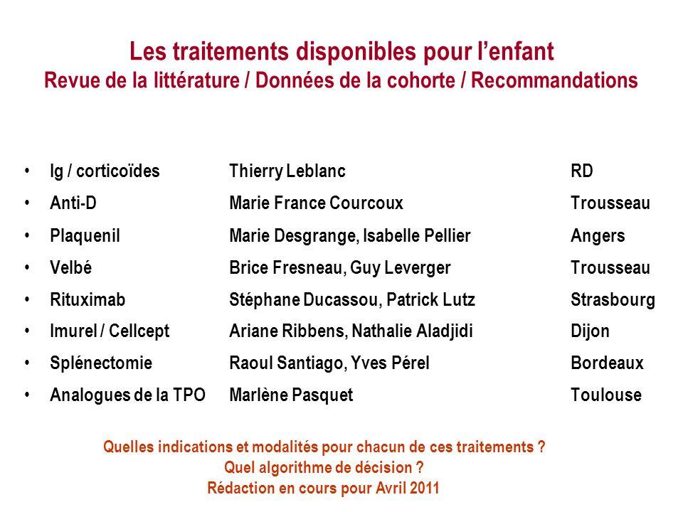 Les traitements disponibles pour lenfant Revue de la littérature / Données de la cohorte / Recommandations Ig / corticoïdesThierry LeblancRD Anti-DMar