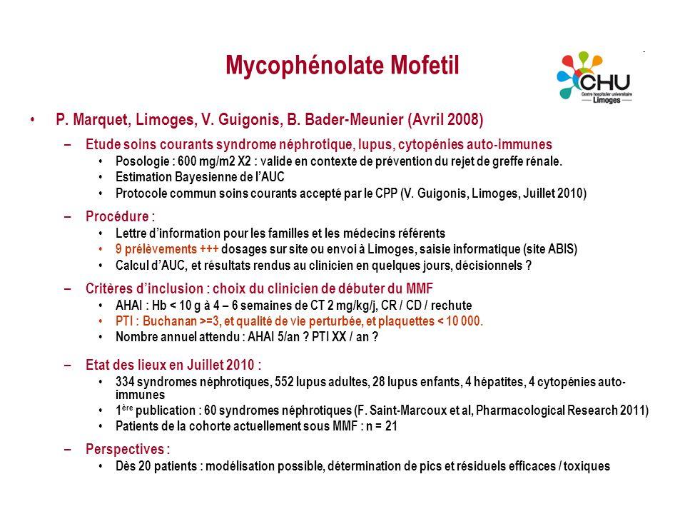 Mycophénolate Mofetil P. Marquet, Limoges, V. Guigonis, B. Bader-Meunier (Avril 2008) – Etude soins courants syndrome néphrotique, lupus, cytopénies a