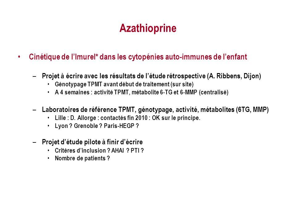 Azathioprine Cinétique de lImurel* dans les cytopénies auto-immunes de lenfant – Projet à écrire avec les résultats de létude rétrospective (A. Ribben