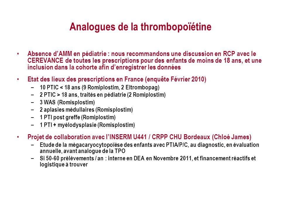 Analogues de la thrombopoïétine Absence dAMM en pédiatrie : nous recommandons une discussion en RCP avec le CEREVANCE de toutes les prescriptions pour des enfants de moins de 18 ans, et une inclusion dans la cohorte afin denregistrer les données Etat des lieux des prescriptions en France (enquête Février 2010) – 10 PTIC < 18 ans (9 Romiplostim, 2 Eltrombopag) – 2 PTIC > 18 ans, traités en pédiatrie (2 Romiplostim) – 3 WAS (Romisplostim) – 2 aplasies médullaires (Romisplostim) – 1 PTI post greffe (Romiplostim) – 1 PTI + myélodysplasie (Romisplostim) Projet de collaboration avec lINSERM U441 / CRPP CHU Bordeaux (Chloé James) – Etude de la mégacaryocytopoïèse des enfants avec PTIA/P/C, au diagnostic, en évaluation annuelle, avant analogue de la TPO – Si 50-60 prélèvements / an : interne en DEA en Novembre 2011, et financement réactifs et logistique à trouver