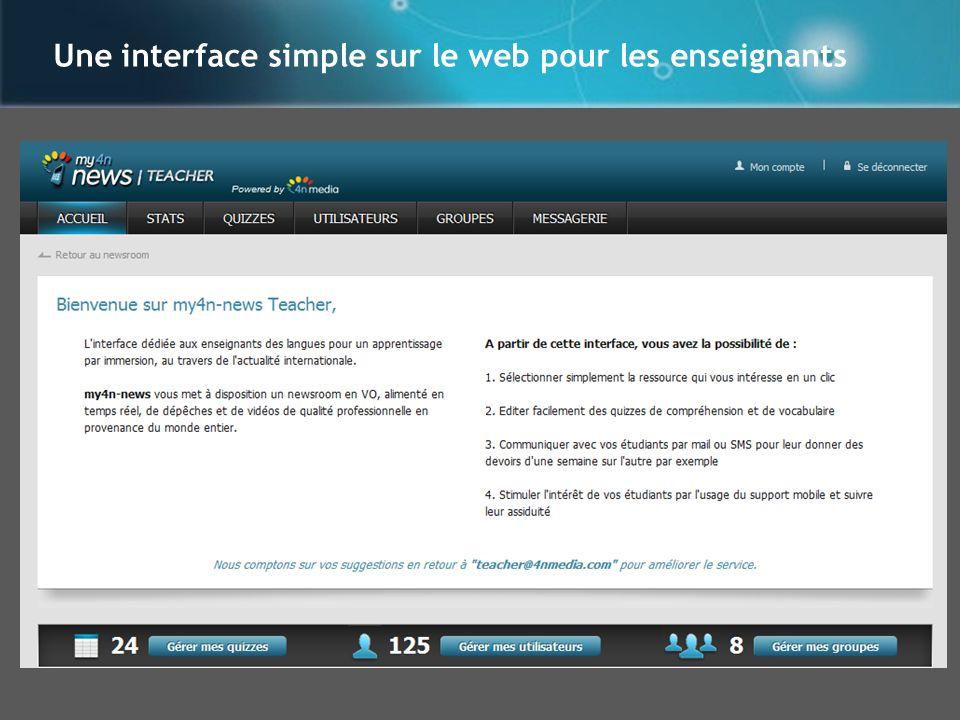 Une interface simple sur le web pour les enseignants