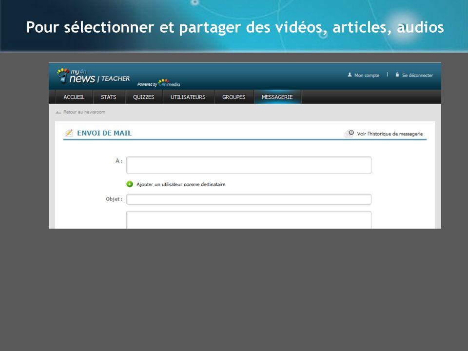 Pour sélectionner et partager des vidéos, articles, audios