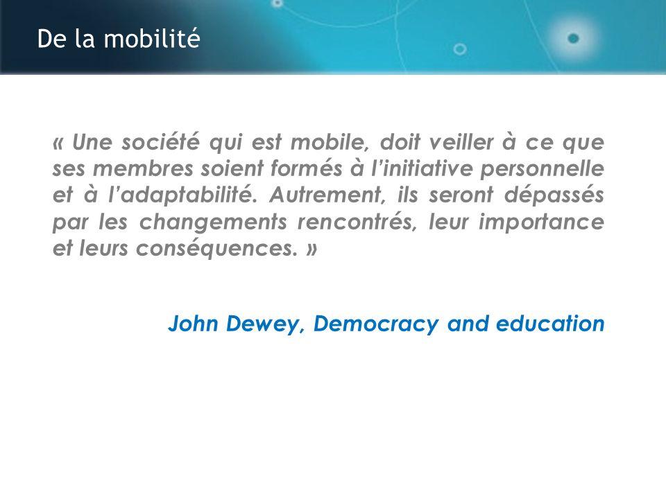 De la mobilité Mobilité spatiale Mobilité temporelle Mobilité conceptuelle / contextuelle Mobilité des technologies A theory of learning for the Mobile Age, 2005 Sharples, Taylor and Vavoula