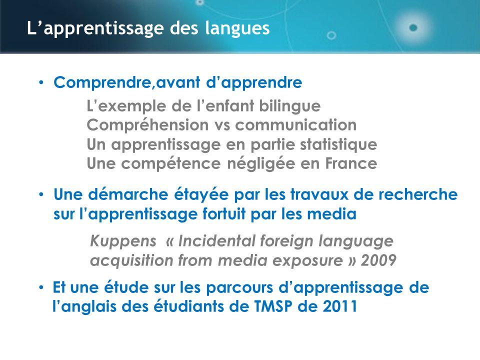 Parcours dapprentissage danglais formel et informel, le cas détudiants en France