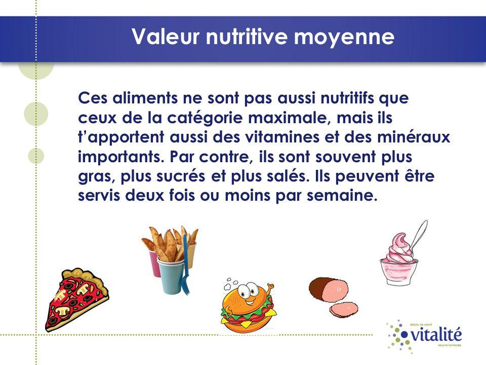 Valeur nutritive moyenne Ces aliments ne sont pas aussi nutritifs que ceux de la catégorie maximale, mais ils tapportent aussi des vitamines et des minéraux importants.