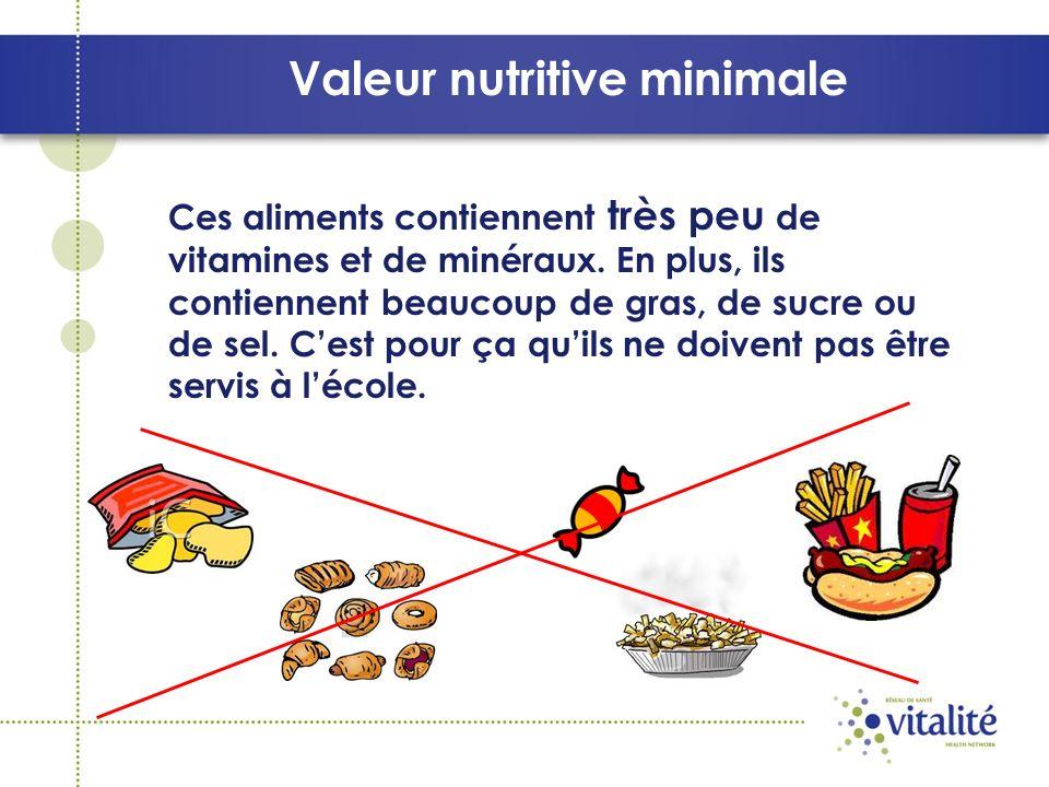 Valeur nutritive minimale Ces aliments contiennent très peu de vitamines et de minéraux.