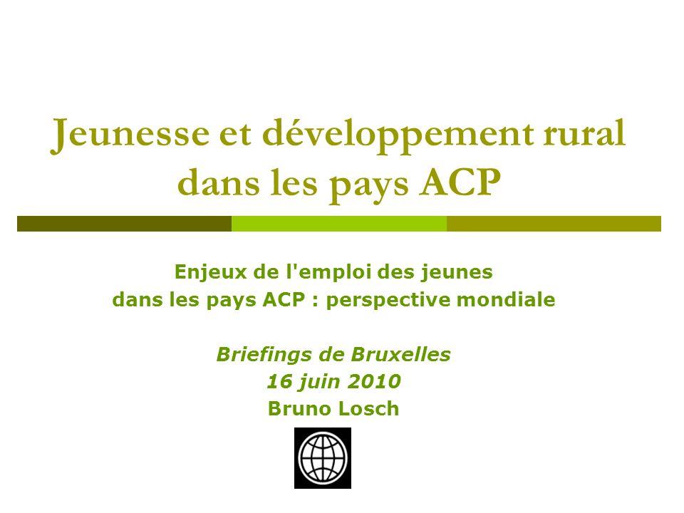 Enjeux de l'emploi des jeunes dans les pays ACP : perspective mondiale Briefings de Bruxelles 16 juin 2010 Bruno Losch Jeunesse et développement rural