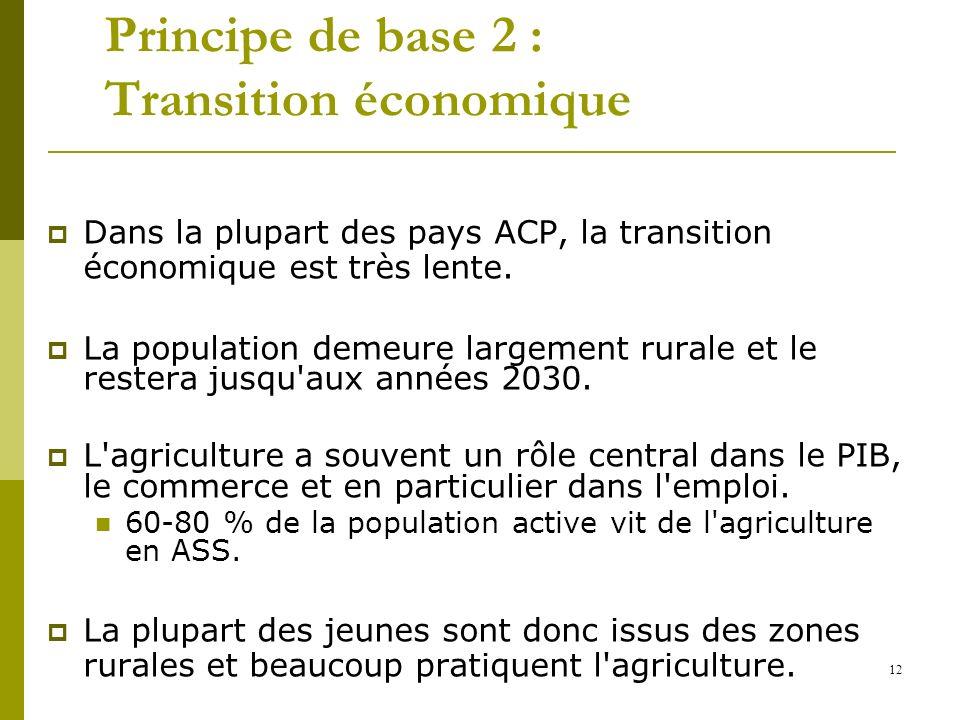 12 Principe de base 2 : Transition économique Dans la plupart des pays ACP, la transition économique est très lente. La population demeure largement r