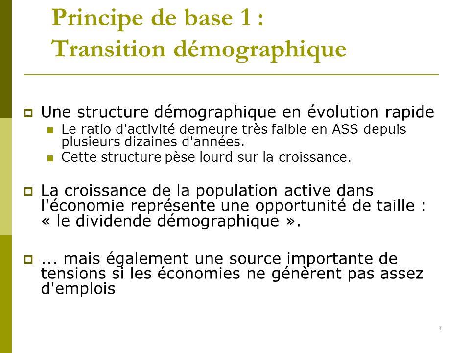 4 Principe de base 1 : Transition démographique Une structure démographique en évolution rapide Le ratio d'activité demeure très faible en ASS depuis