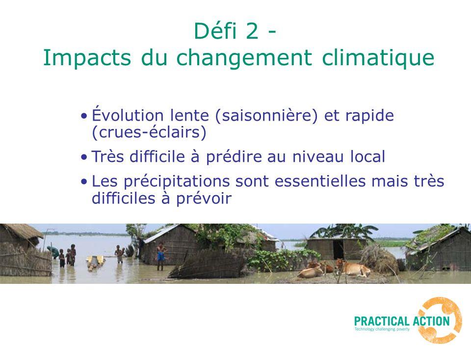 Défi 2 - Impacts du changement climatique Évolution lente (saisonnière) et rapide (crues-éclairs) Très difficile à prédire au niveau local Les précipitations sont essentielles mais très difficiles à prévoir