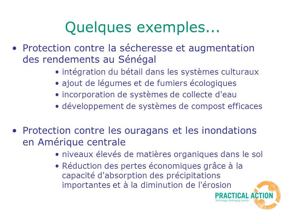 Quelques exemples... Protection contre la sécheresse et augmentation des rendements au Sénégal intégration du bétail dans les systèmes culturaux ajout