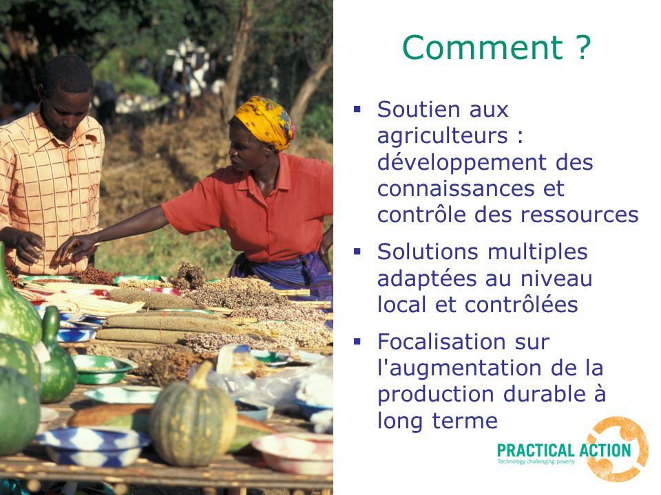 Comment ? Soutien aux agriculteurs : développement des connaissances et contrôle des ressources Solutions multiples adaptées au niveau local et contrô