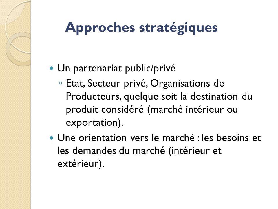 Un partenariat public/privé Etat, Secteur privé, Organisations de Producteurs, quelque soit la destination du produit considéré (marché intérieur ou exportation).