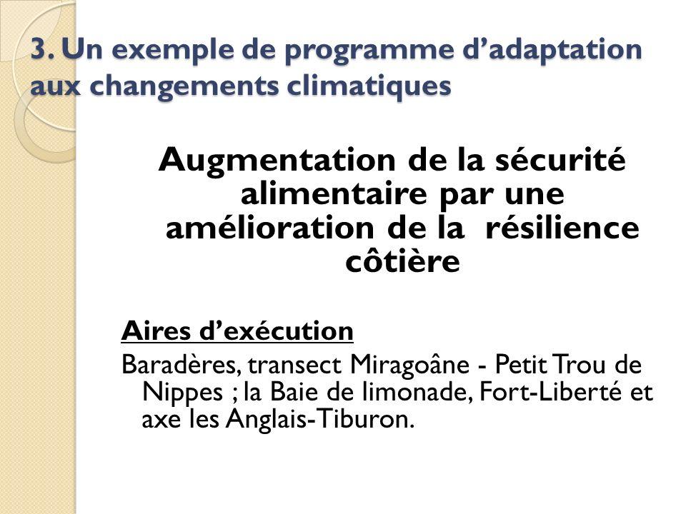 3. Un exemple de programme dadaptation aux changements climatiques Augmentation de la sécurité alimentaire par une amélioration de la résilience côtiè