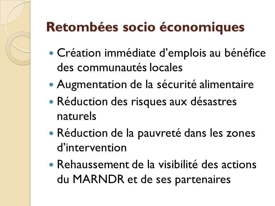 Retombées socio économiques Création immédiate demplois au bénéfice des communautés locales Augmentation de la sécurité alimentaire Réduction des risques aux désastres naturels Réduction de la pauvreté dans les zones dintervention Rehaussement de la visibilité des actions du MARNDR et de ses partenaires